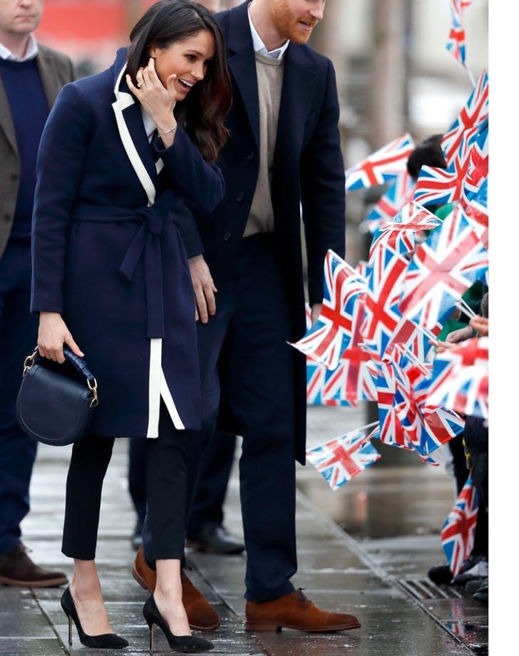 Meghan Markle in blue coat