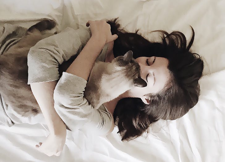 Owner cuddling with cat in bed