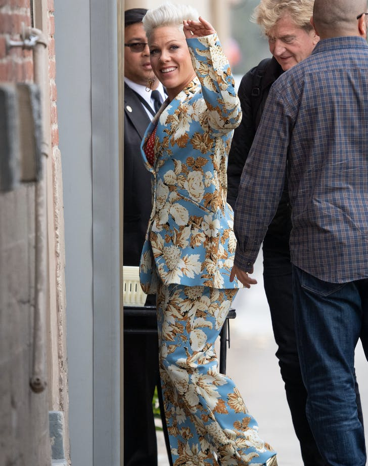 Pink in a floral suit1