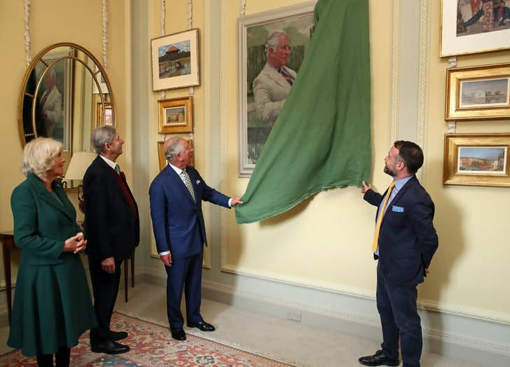 Prince Charles unvieling portrait of himself
