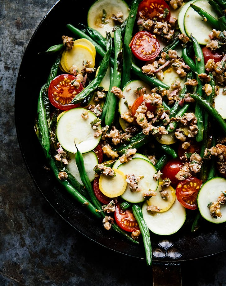 Blistered Green Beans with Tomatoes, Pounded Walnuts and Raw Summer Squash