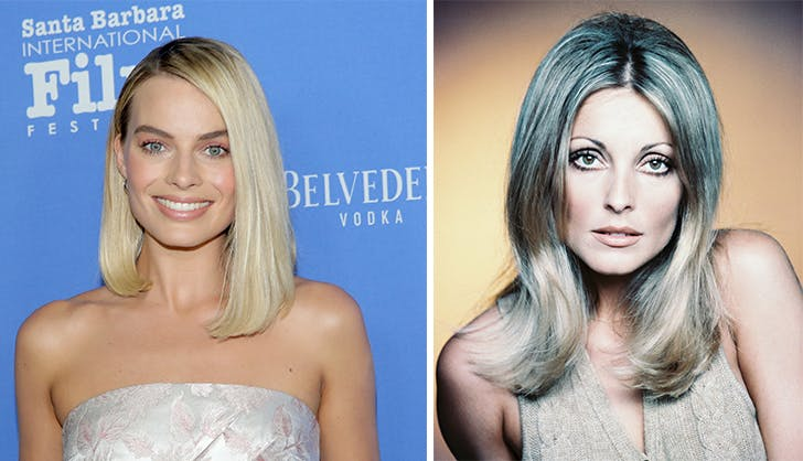 Sharon Tate and Margot Robbie side by side.