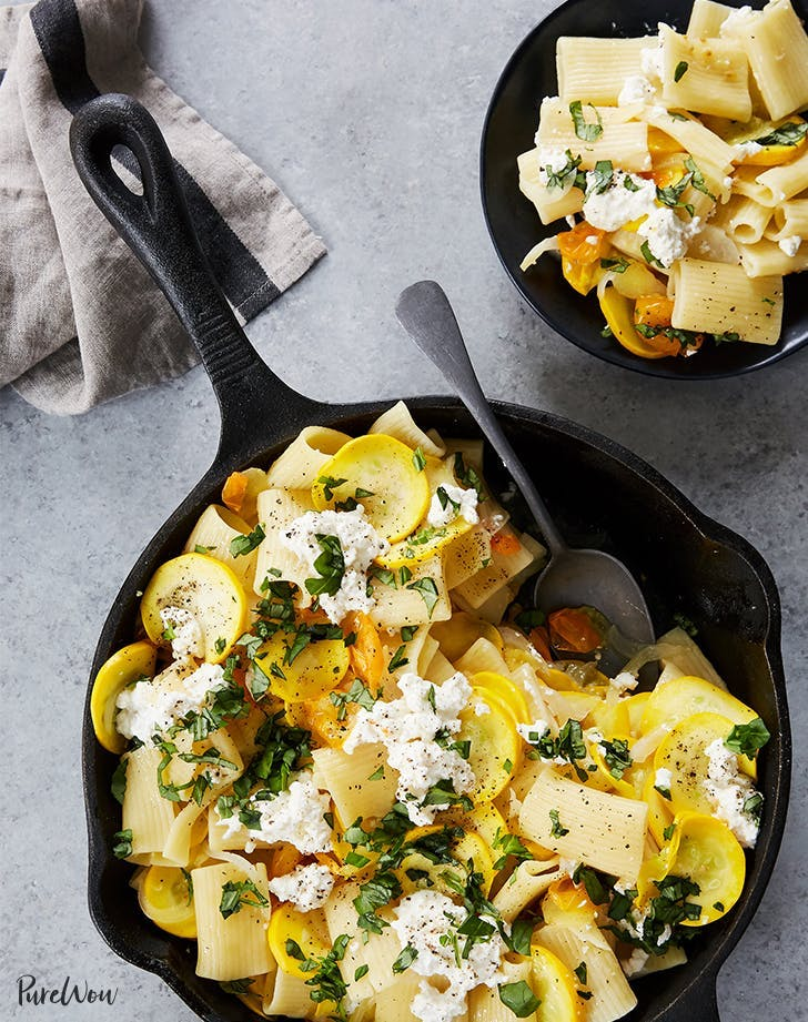 Skillet Pasta With Summer Squash Ricotta And Basil Recipe
