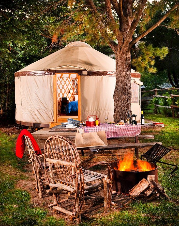 a glamping yurt
