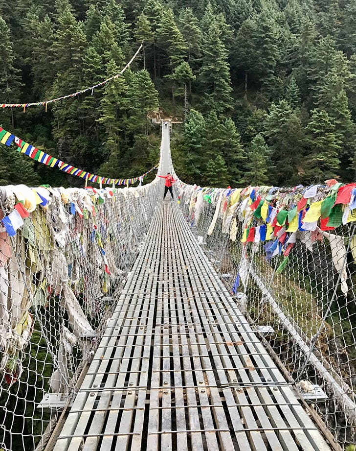 a suspension bridge on the trail to everest base camp