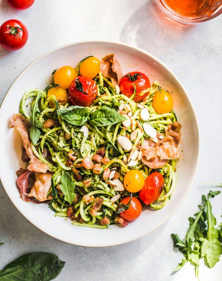 arugula pesto zucchini noodle bowl paleo pasta recipe