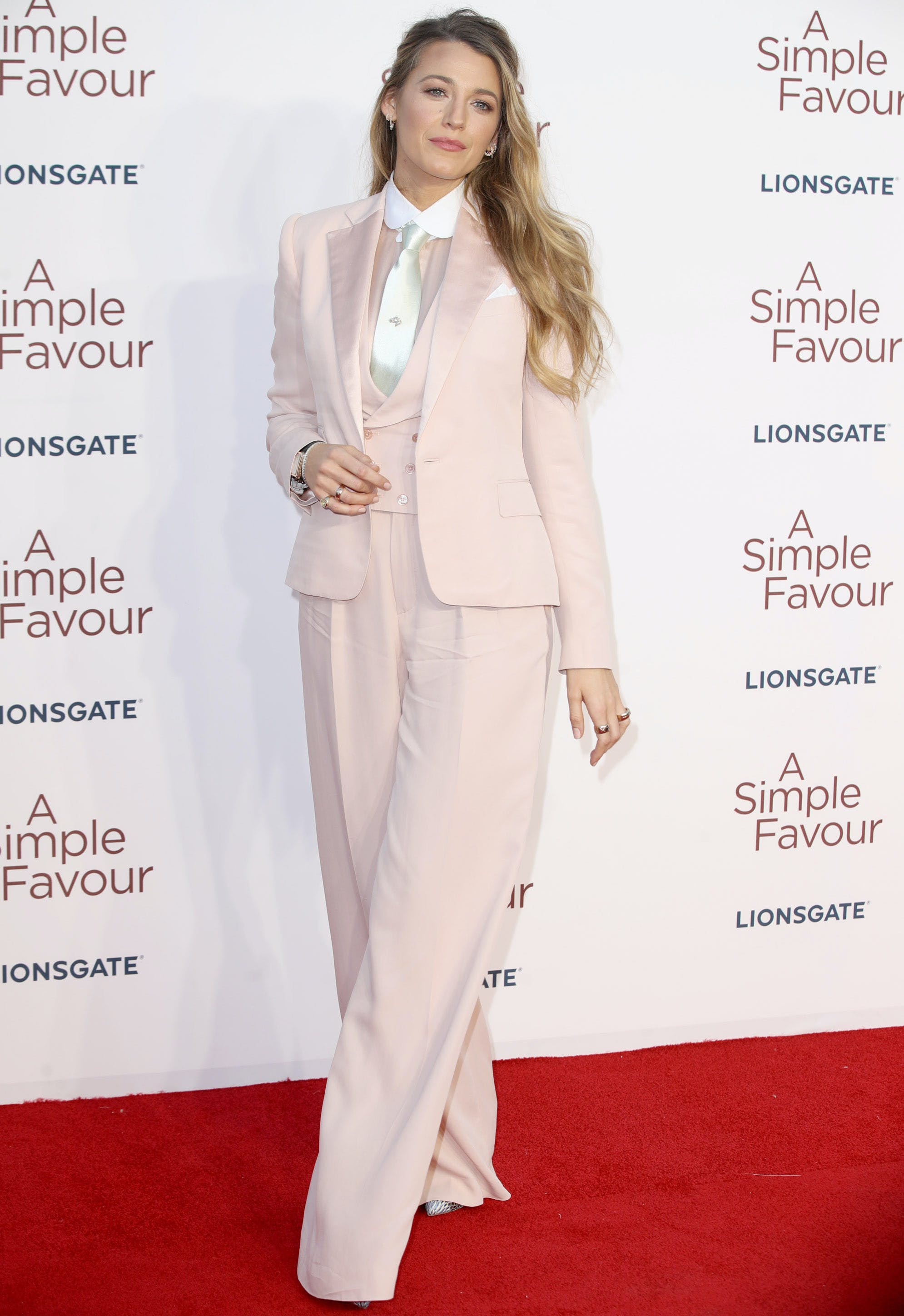 blake lively wearing a three piece suit