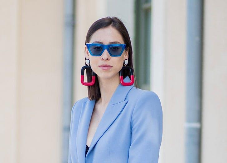 blue sunglasses street style nyc