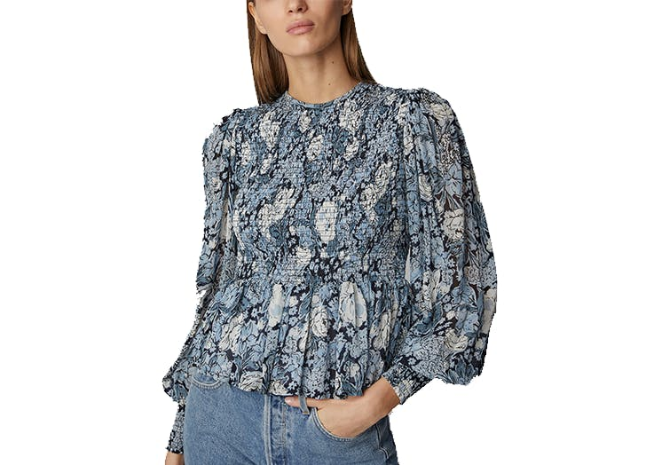 blue gray floral blouse from ganni