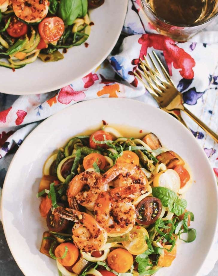cold dinner recipes olio zoodles summer vegetables and shrimp