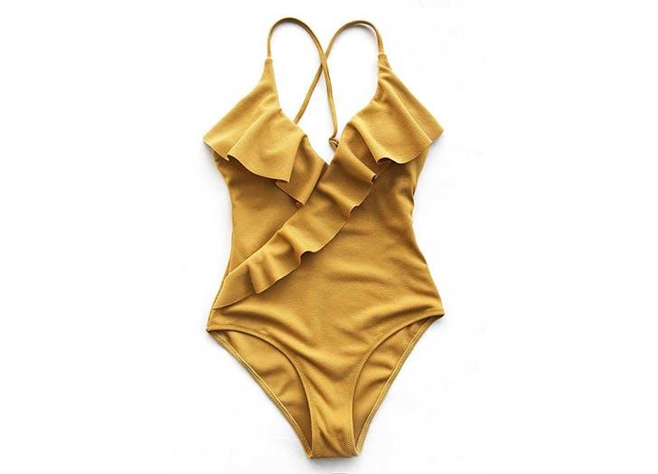 cupshe ruffled yellow swimsuit