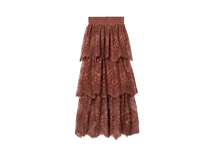 h m conscious collection tiered lace skirt