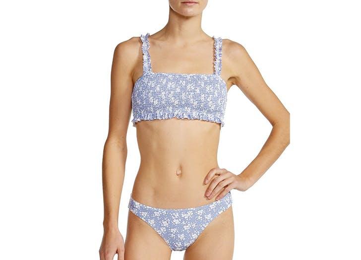 kisuii smocked fabric bikini