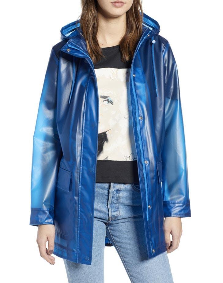 levi s translucent blue raincoat
