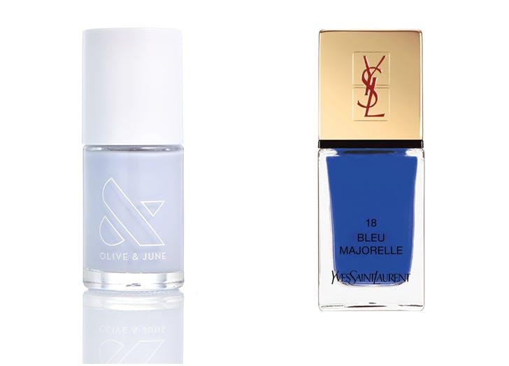 light blue and cobalt polish