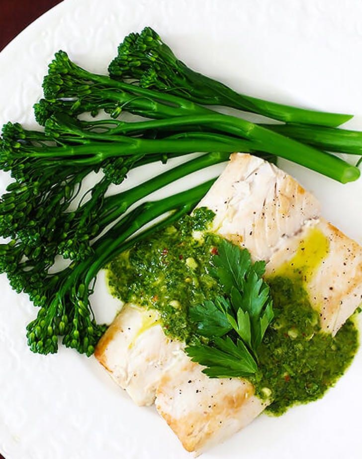 mahi mahi chimichurri sauce broccolini recipe