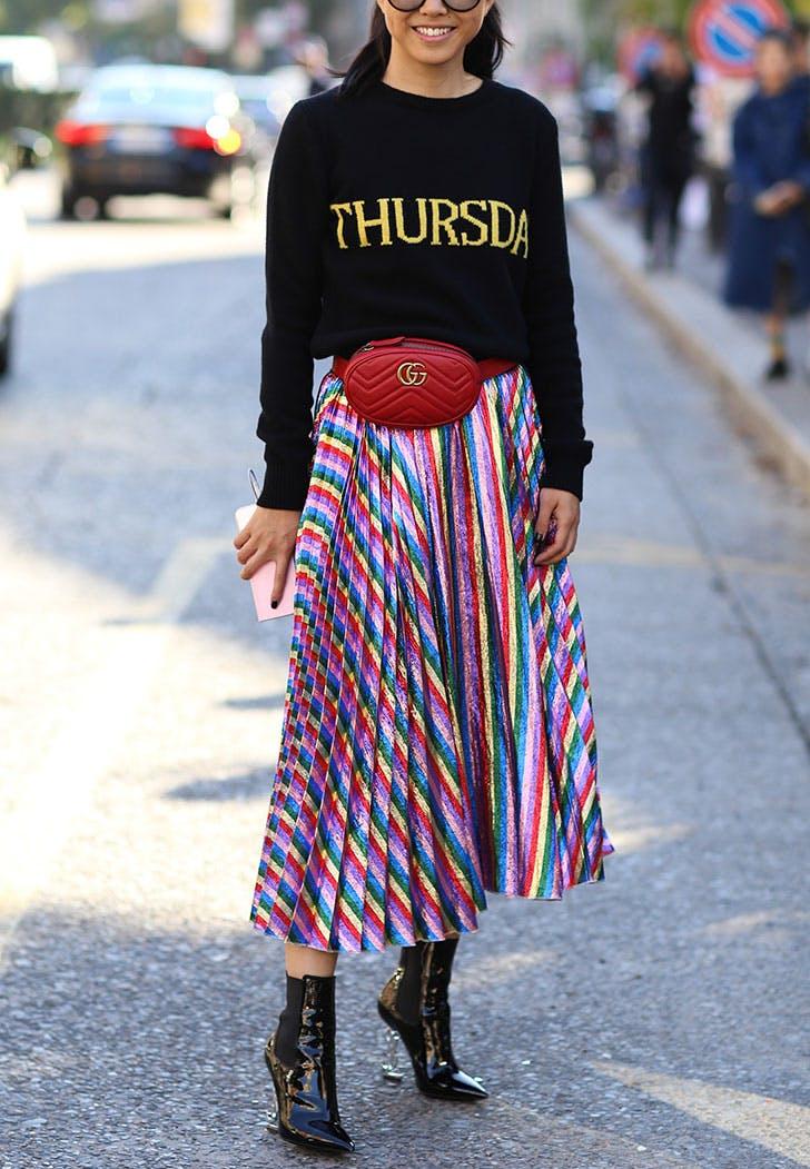 may trends street style rainbow skirt