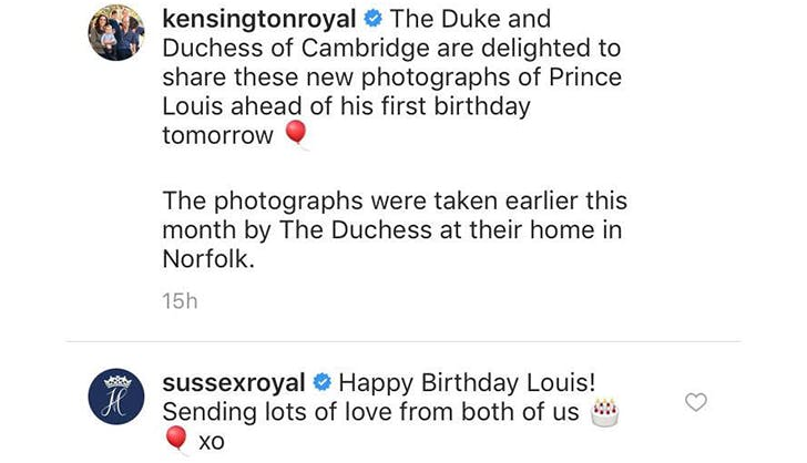 Here's How Prince Harry & Meghan Markle Wished Prince Louis a Happy Birthday on Instagram