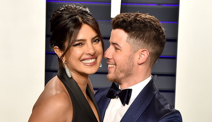 nick jonas kissing priyanka chopra on the cheek