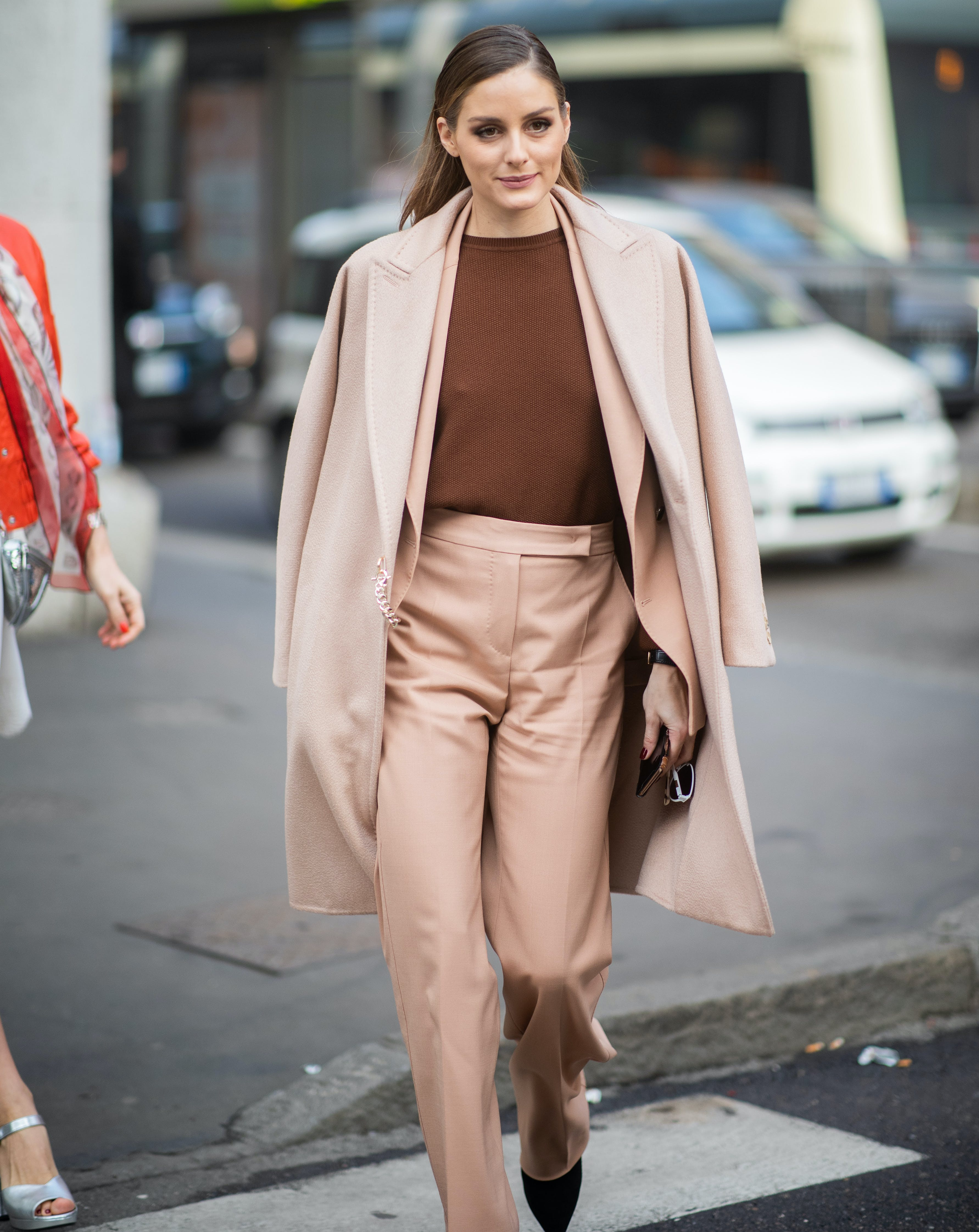 olivia palermo wearing a beige suit