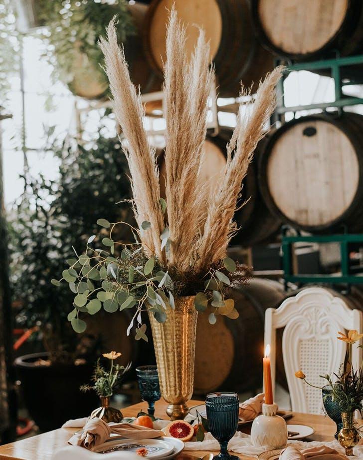 pamas grass as a centerpiece at a wedding