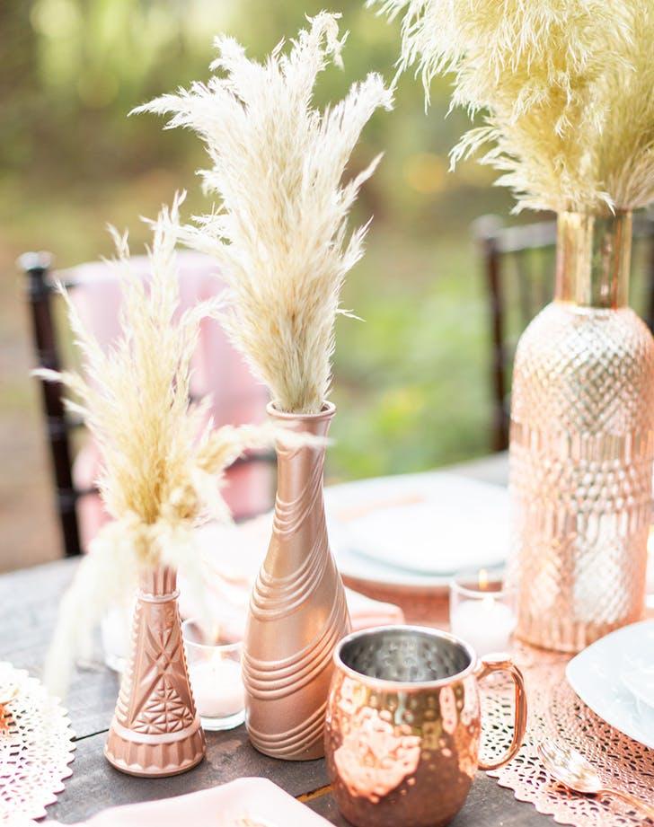 pamas grass as table decor at a wedding