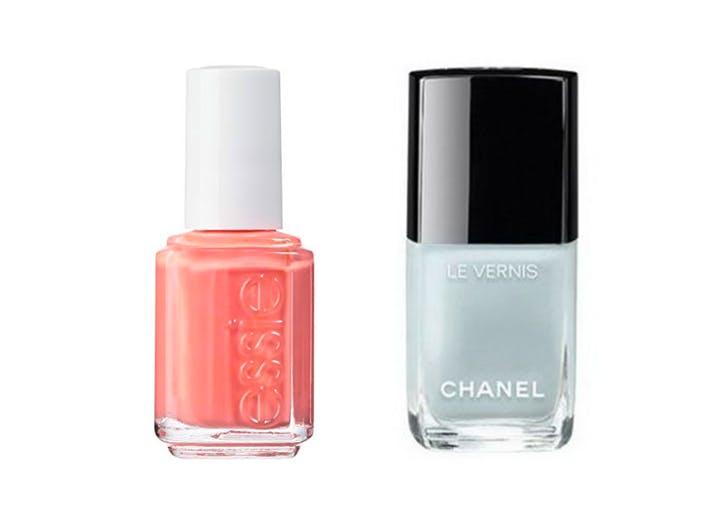 peach and ice blue polish