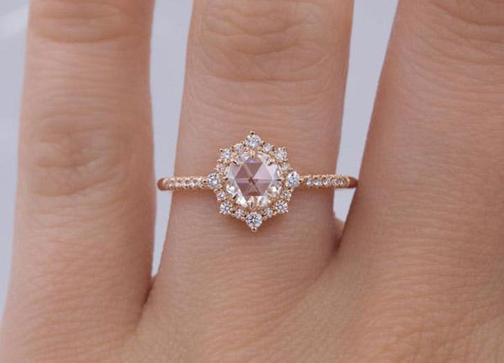 pink engagement ring flroal