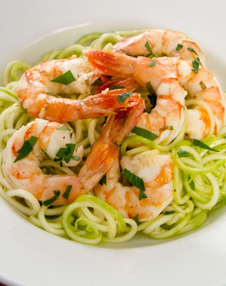 shrimp with zucchini paleo pasta