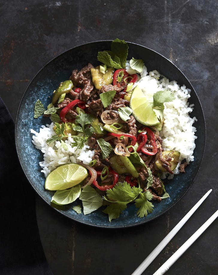 spicy beef larb with coconut rice recipe