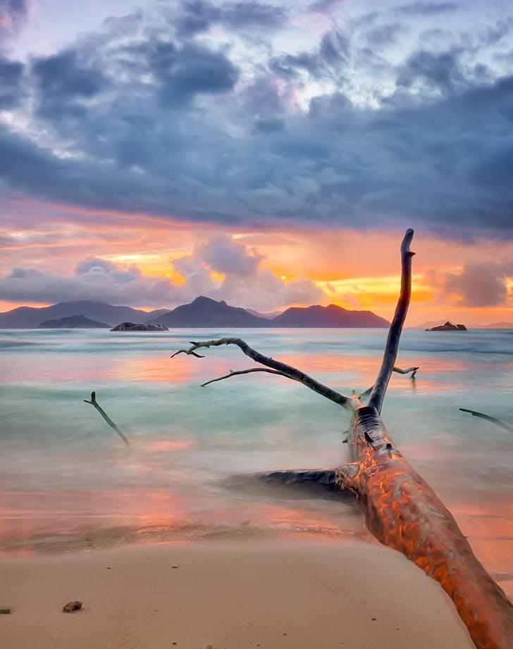 sunset on a private island beach