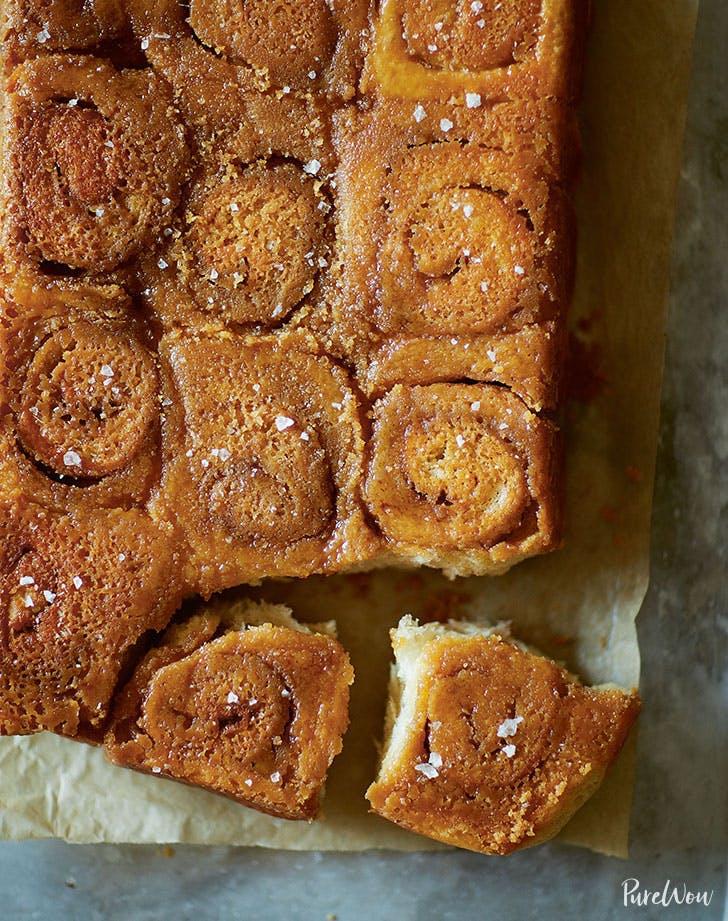 swedish cinnamon buns topped with salted caramel hero