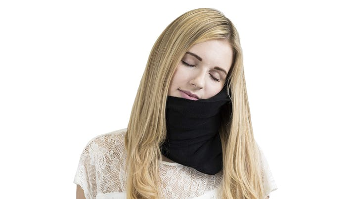 This New Travel Pillow Helps You Nap Sitting Up (and Looks Just Like a Regular Scarf)