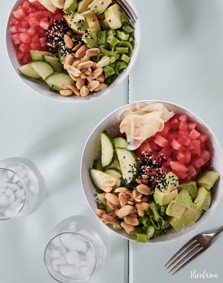 watermelon poke bowl cold dinner recipes