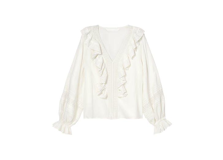 white ruffled shirt