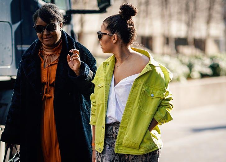 woman wearing a green denim jacket