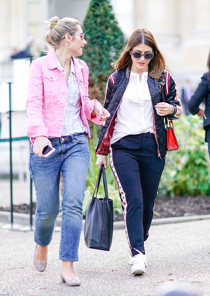 woman wearing a pink denim jacket