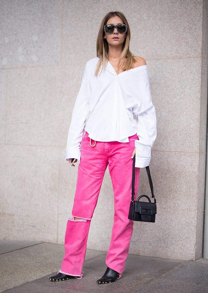 woman wearing hot pink jeans  1