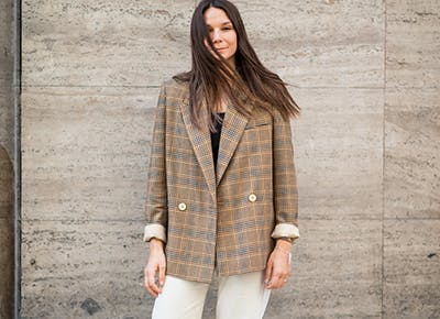 woman in plaid blazer 400