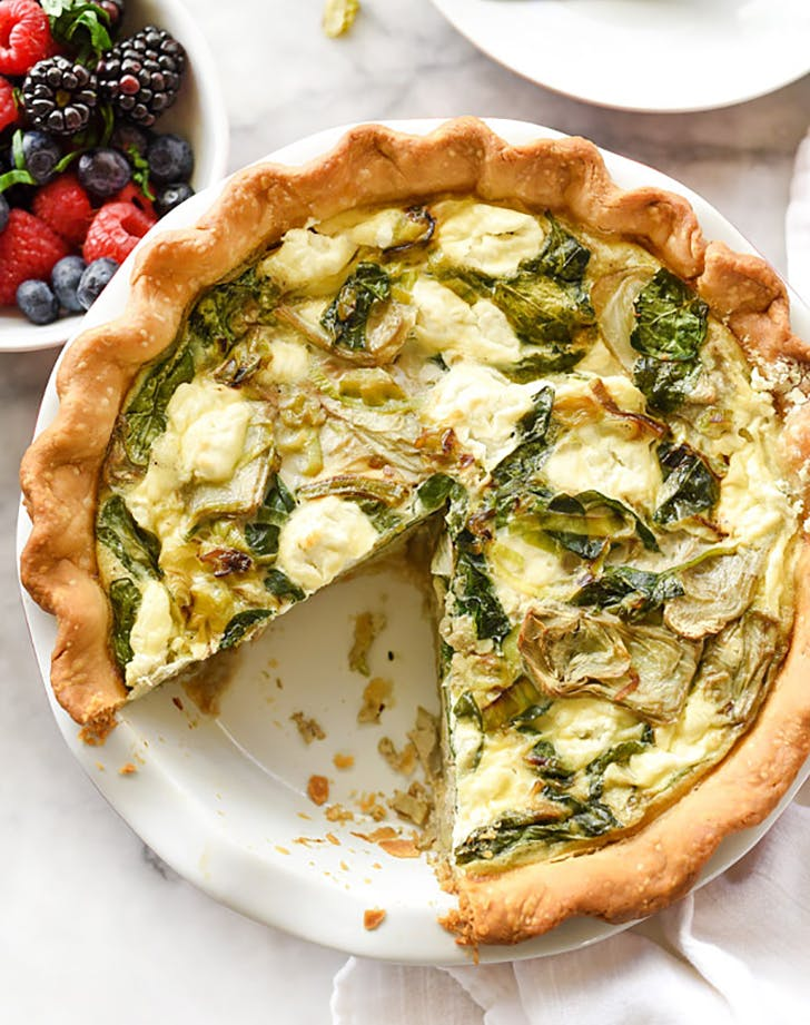 Artichoke Spinach and Goat Cheese Quiche