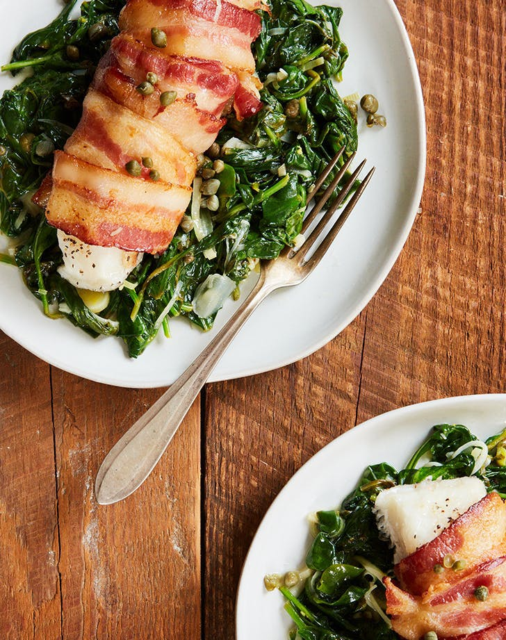 Bacon Wrapped Black Cod with Spinach and Capers