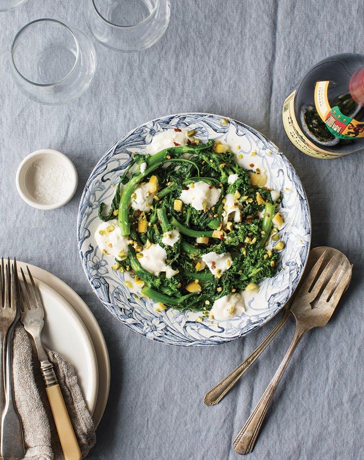 Broccoli Rabe and Burrata with Lemon