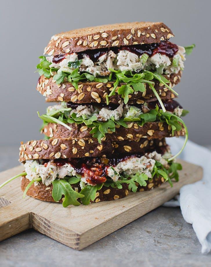 Chicken Salad Sandwich with Rhubarb Raspberry Preserves