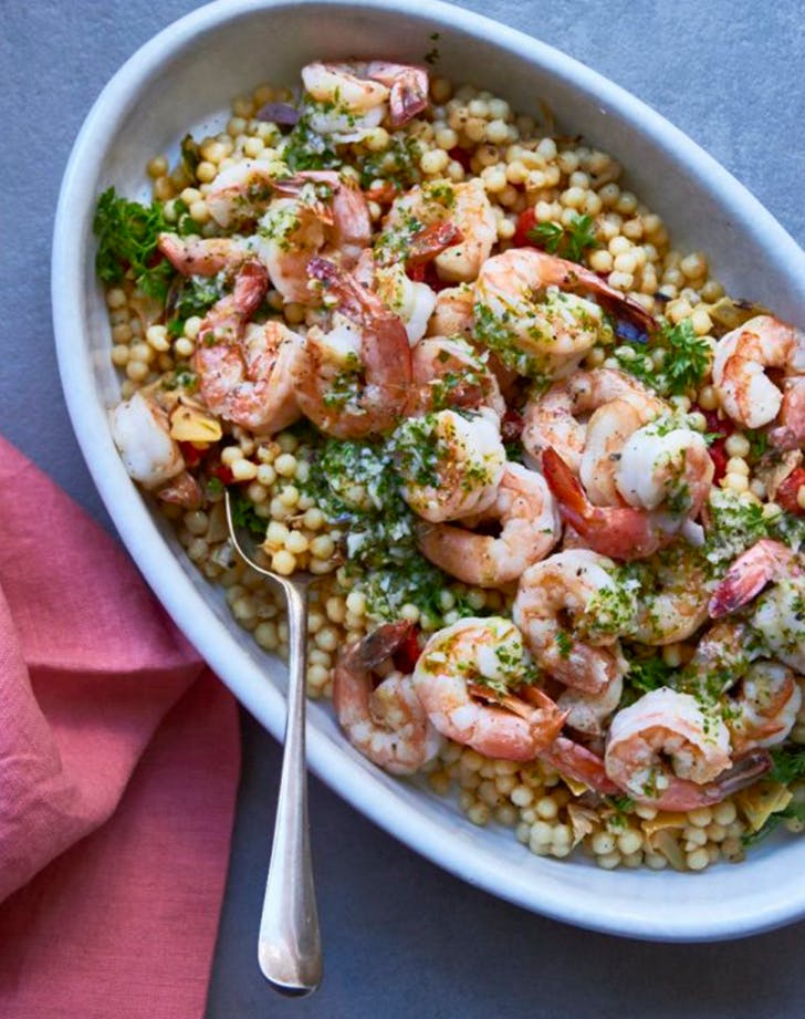 Couscous Salad with Shrimp  Roasted Tomatoes  and Pesto Dressing