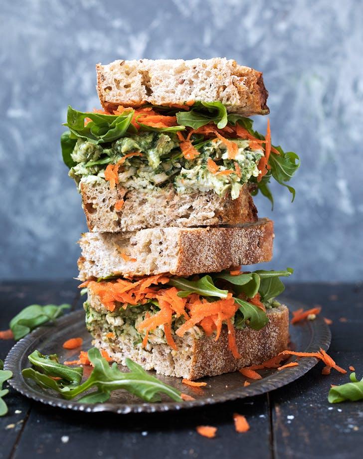 Healthy Pumpkin Seed and Avocado Pesto Chicken Salad Sandwiches