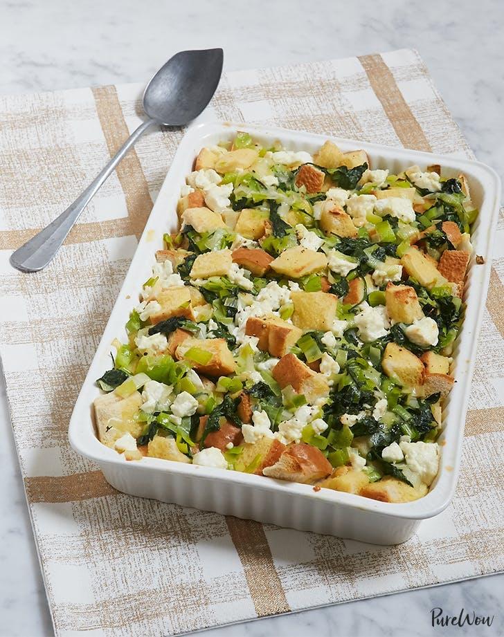 Kale Goat Cheese Leek Strata Recipe