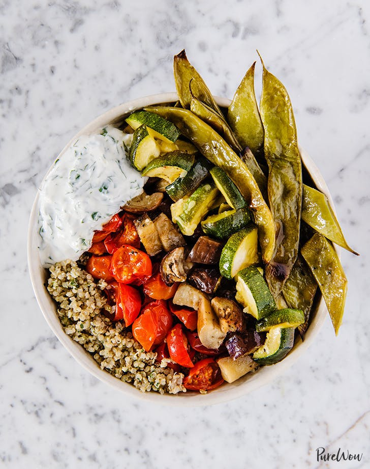 Pesto Quinoa Bowls with Roasted Veggies and Labneh