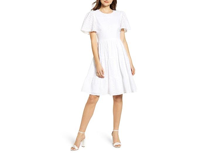 Rachel Parcell Mixed Eyelet A Line Dress