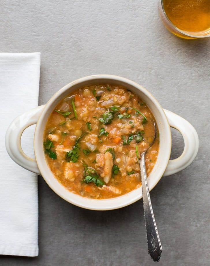 Red Lentil  Fennel  and Chicken Slow Cooker Soup