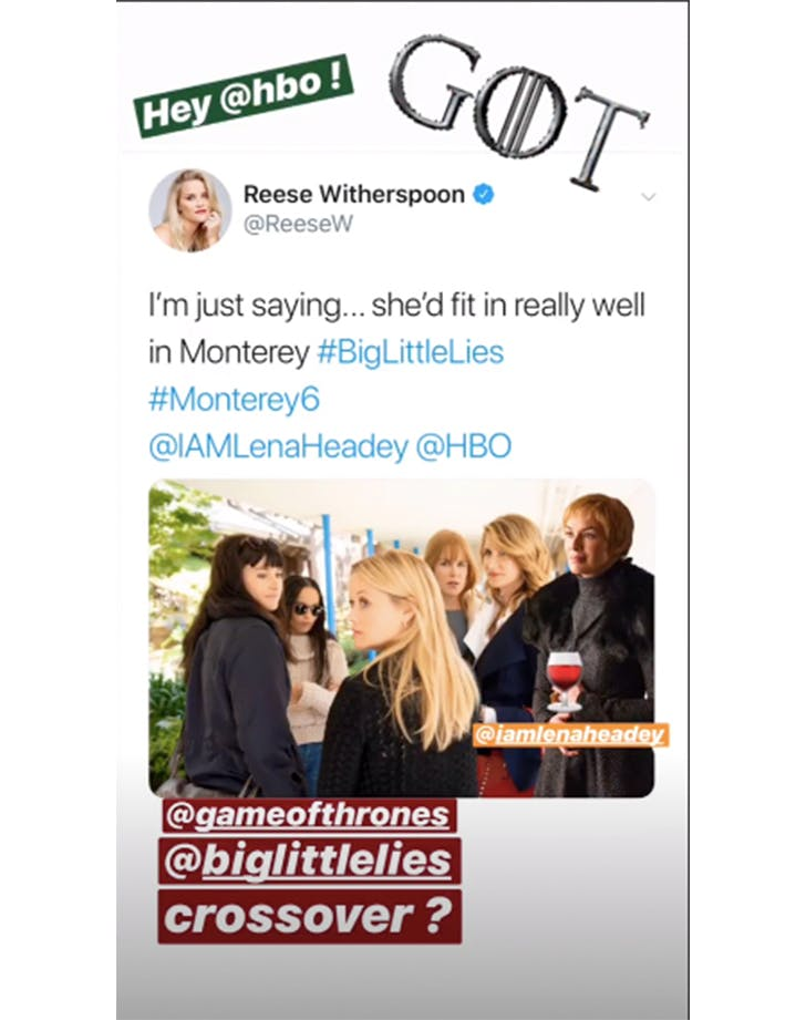 Reese witherspoon instagram stories big little lies game of thrones crossover
